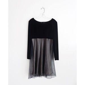 Vintage 90s Black Velvet Empire Waist Mini Dress 8